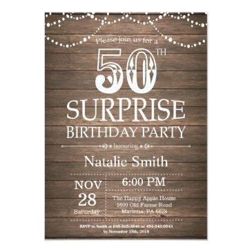 Rustic Surprise 50th Birthday Invitations