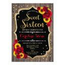 rustic sweet 16 birthday - sunflowers roses wood invitation