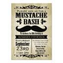 rustic vintage mustache bash party invitation