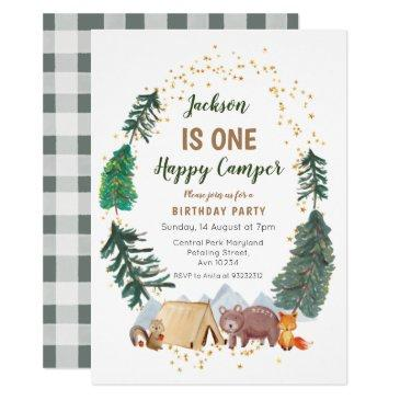 rustic watercolor camper first birthday invitation