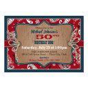 rustic western bandanna print cowboy birthday invitation