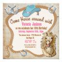 rustic western cowgirl horse birthday invitations