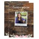 rustic western quinceañera 15th birthday photo invitation