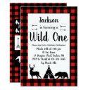 rustic wilderness & animal plaid wild one birthday invitations