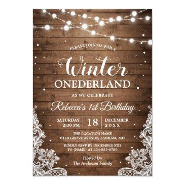 Small Rustic Winter Onederland Lace Baby First Birthday Invitations Front View