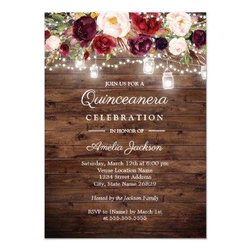 rustic wood burgundy floral lights quinceanera invitations