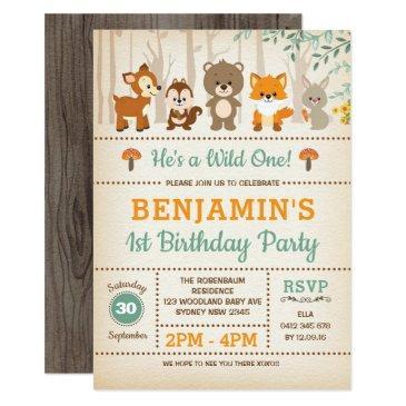rustic woodland wild one forest animals birthday invitation
