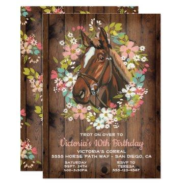 rustic wreath horse birthday party invitations