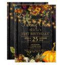 rusty autumn floral chic twenty one birthday invitation