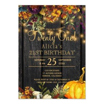 Small Rusty Autumn Floral Chic Twenty One Birthday Invitation Front View