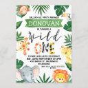 safari animals wild one 1st birthday invitation