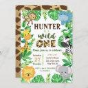 safari jungle animals birthday invitations