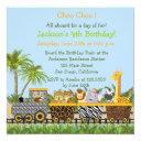 safari jungle animals in train birthday invitations