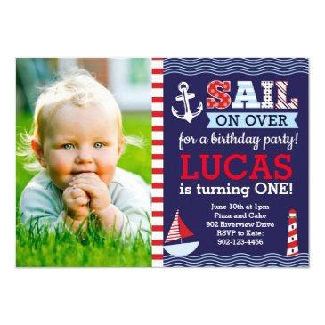 sail away boy's nautical birthday invitation