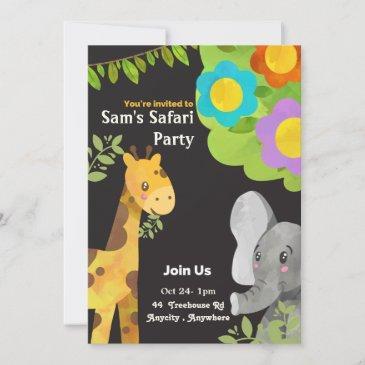 sam's safari expedition birthday invitation