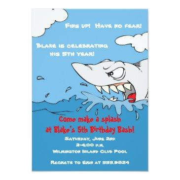 Small Scary Shark Birthday Pool Party Invite Front View
