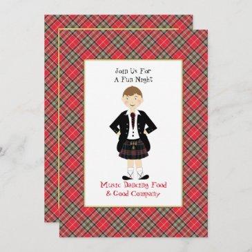 scottish tartan clan plaid personalized party invitation