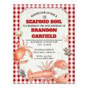 seafood boil red gingham and wood party invitation