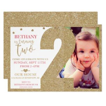 second birthday gold glitter & pink invitations