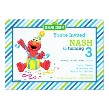 sesame street | elmo - boys birthday striped invit invitations
