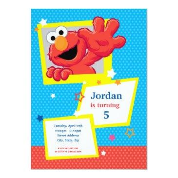 sesame street | elmo - polka dot & stars birthday invitations