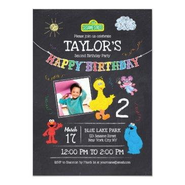 Small Sesame Street Pals Chalkboard Photo Birthday Invitations Front View