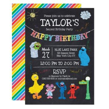 sesame street pals chalkboard rainbow birthday invitation