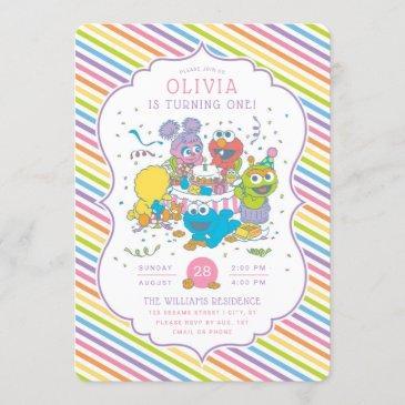 sesame street | striped baby birthday invitation