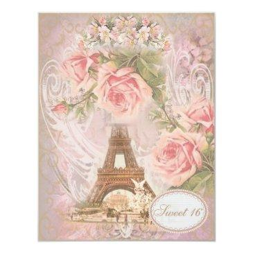 shabby chic eiffel tower pink floral sweet 16 invitation