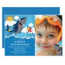 shark attack pool birthday invitations