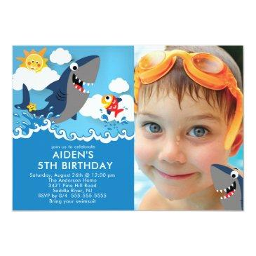 Small Shark Attack Pool Birthday Invitations Front View