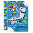 shark baby birthday party invitation