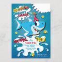 shark baby boy or girl birthday party invitation