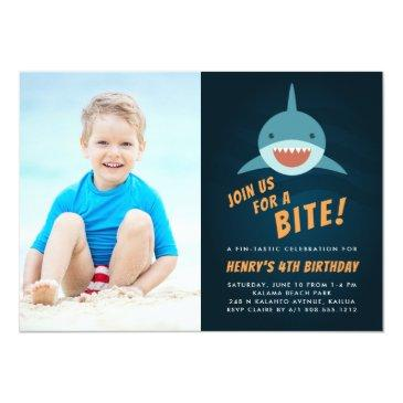 Small Shark Bait | Birthday Party Photo Invitation Front View