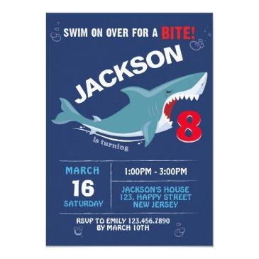 shark birthday invitation. bite party invitation