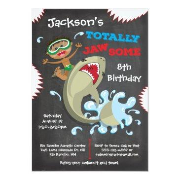 Small Shark Birthday Swimming Pool Party Invitations Front View