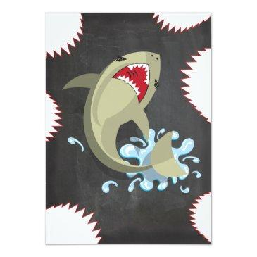 Small Shark Birthday Swimming Pool Party Invitations Back View