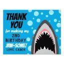 shark birthday thank you invitations