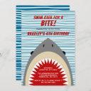shark bite any age birthday invitation