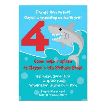 Small Shark Bite Invite- 4th Birthday Party Invitations Front View