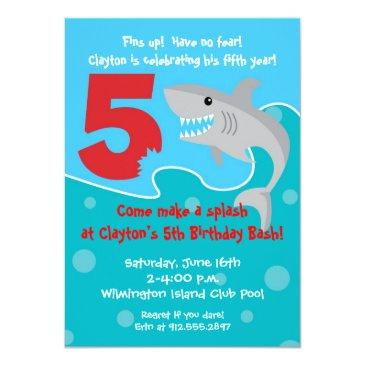 Small Shark Bite Invite- 5th Birthday Party Invitations Front View