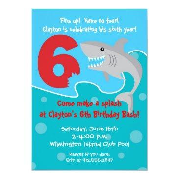 Small Shark Bite Invite- 6th Birthday Party Invitations Front View