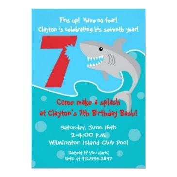 Small Shark Bite Invite- 7th Birthday Party Invitations Front View