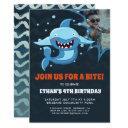 shark bite   photo birthday party invitations