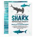 shark infested any age birthday party invitation