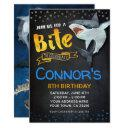 shark invitations, pool birthday party, chalkboard invitations