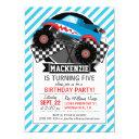 shark monster truck; checkered flag; blue stripes invitation