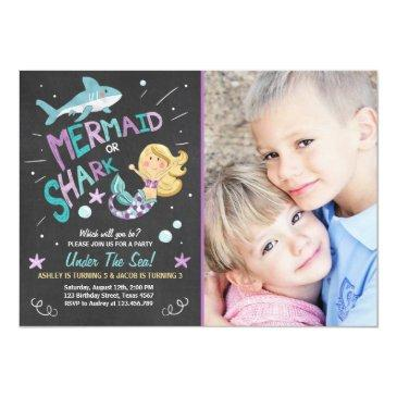 Small Shark Or Mermaid Birthday Invitations Joint Bday Front View