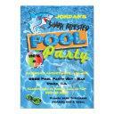 shark pool birthday party invitations
