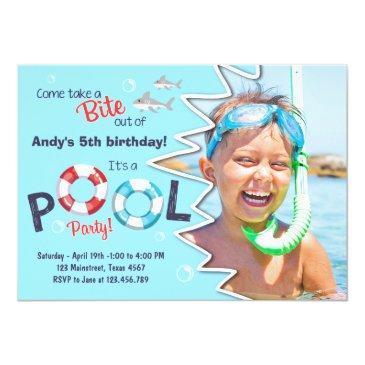 Small Shark Pool Party Invitations Shark Birthday Invite Front View